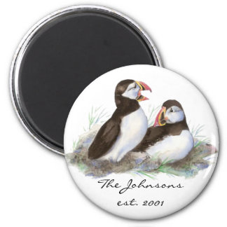 Custom Dated Family Monogram Cute Puffins 2 Inch Round Magnet