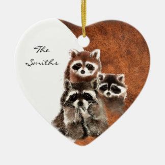 Custom Dated Family Monogram, Raccoon Animal Double-Sided Heart Ceramic Christmas Ornament