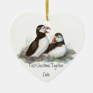 Custom Dated First Christmas Together Puffins Bird Ceramic Ornament