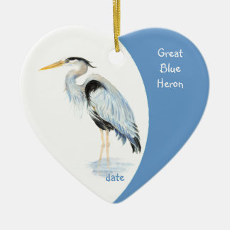 Custom Dated Great Blue Heron Watercolor Bird Christmas Tree Ornaments