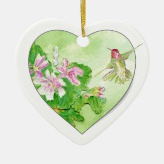 Custom Dated Hummingbird Watercolor Bird, Animal Double-Sided Heart Ceramic Christmas Ornament