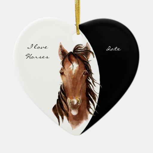Custom Dated I love Horses Watercolor Horse Ceramic Ornament