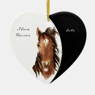 Custom Dated I love Horses Watercolor Horse Ornaments
