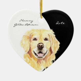 Custom Dated I love my Golden Retriever, dog, pet Ornament