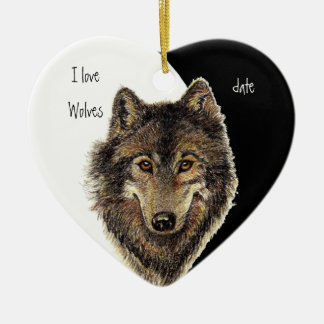 Custom Dated I love Wolves, Watercolor Animal Ceramic Ornament
