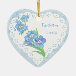Custom Dated Name Forget-me-not Watercolor Flower Ceramic Ornament