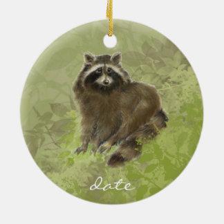 Custom Dated, Raccoon, Watercolor Animal Ceramic Ornament