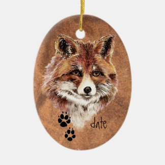 Custom Dated Red Fox Tracks, Watercolor Animal Art Double-Sided Oval Ceramic Christmas Ornament