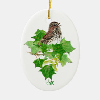 Custom Dated Song Sparrow Watercolor Bird Nature Double-Sided Oval Ceramic Christmas Ornament