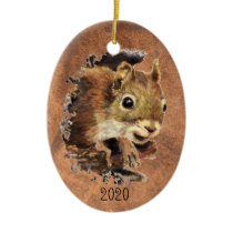 Custom Dated Squirrel Animal Watercolor Animal Art Ceramic Ornament