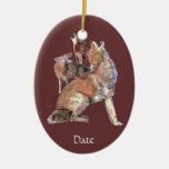 Custom Dated Watercolor Howling Coyotes Animal Ceramic Ornament