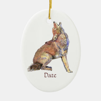 Custom Dated Watercolor Howling Coyotes Animal Double-Sided Oval Ceramic Christmas Ornament