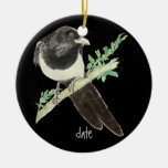 Custom Dated Watercolor Magpie, Bird Animal Christmas Ornament