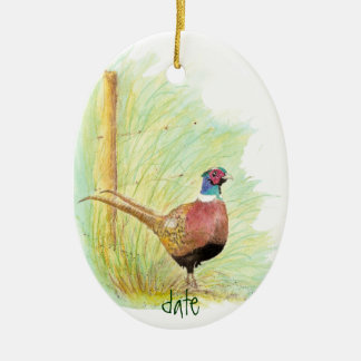 Custom Dated Watercolor Pheasant, Bird Animal Ceramic Ornament