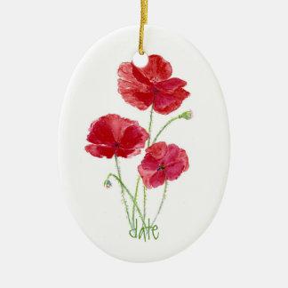 Custom Dated, Watercolor Red Poppy Flower Ceramic Ornament