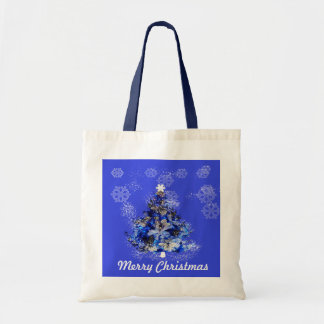Custom decorated blue christmas tree tote bag