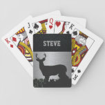 "Custom Deer Hunting Rugged Name Playing Cards<br><div class=""desc"">These playing cards are a rugged design for the guy that loves to be in the bush hunting. An antlered buck is standing in the grass on a stainless looking background. The name can be personalized.</div>"