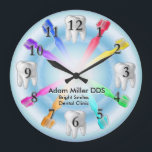 "Custom Dentist Clock Rainbow<br><div class=""desc"">Customize this great looking artwork featuring a pretty rainbow of toothbrushes.</div>"