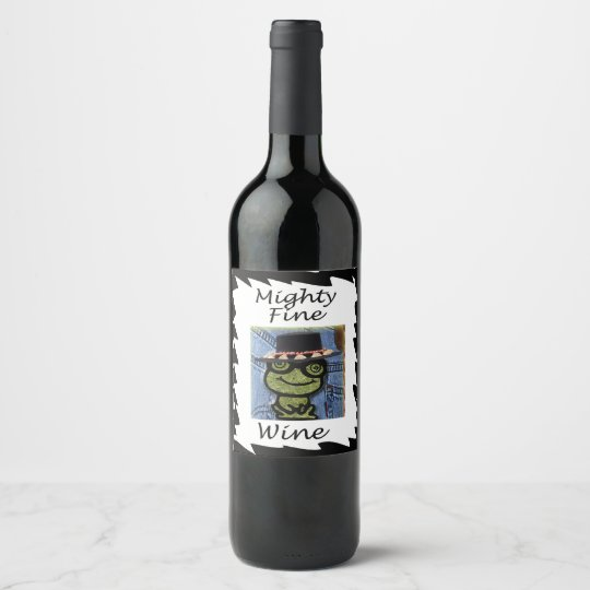 Custom design frog label for wine bottle zazzle for How to cut the top off a wine bottle