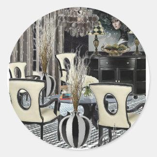 Custom Design Home Interior black lobby Classic Round Sticker