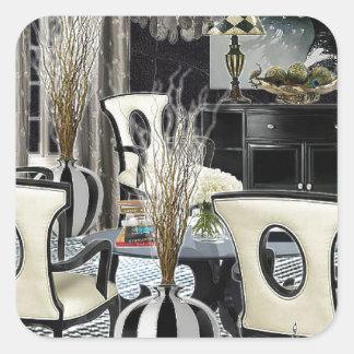 Custom Design Home Interior black lobby Square Sticker