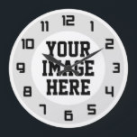 "Custom &quot;Design Your Own&quot; unique wall clock<br><div class=""desc"">Custom,  create your own wall clock. Clock comes predesigned with numbers and semi-translucent circular graphic underneath. Simply add your own photo,  graphic or text to create your unique,  one-of-a-kind wall clock. Black numbers design - looks best when the image you add is lighter.</div>"