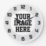 Custom &quot;Design Your Own&quot; unique wall clock<br><div class='desc'>Custom,  create your own wall clock. Clock comes predesigned with numbers and semi-translucent circular graphic underneath. Simply add your own photo,  graphic or text to create your unique,  one-of-a-kind wall clock. Black numbers design - looks best when the image you add is lighter.</div>