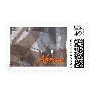 Custom designed African baby elephant stamp. Postage