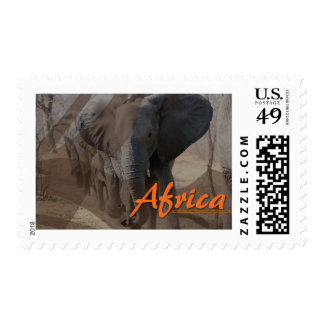 Custom designed African elephant stamp. Postage