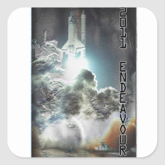 Custom Designed Endeavor Shuttle Launch Square Sticker