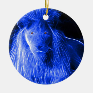 Custom Designed Fractal Lion Ceramic Ornament