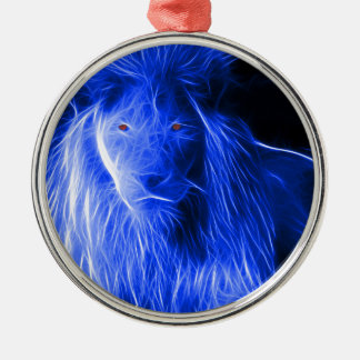 Custom Designed Fractal Lion Metal Ornament
