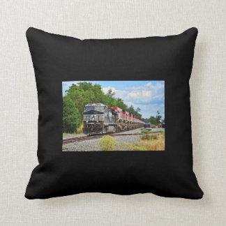 Custom designed train throw pillow