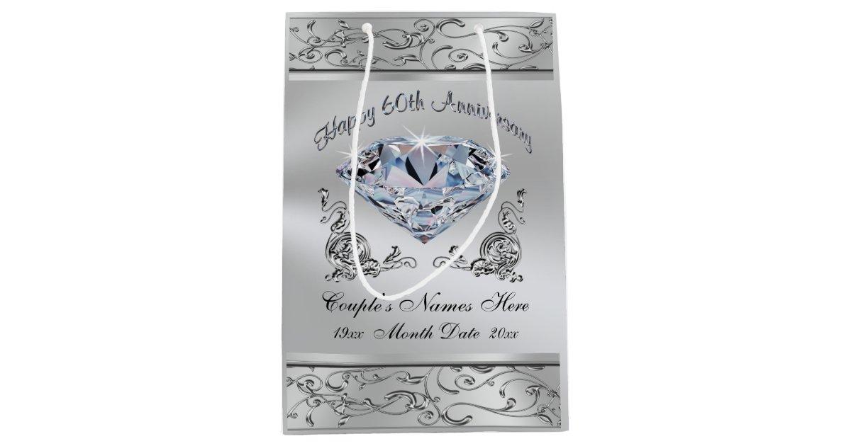 Diamond Wedding Gift Ideas: Custom Diamond 60th Wedding Anniversary Gift Bags