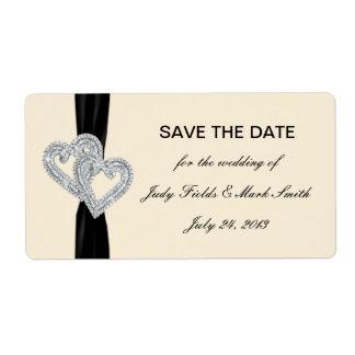 Custom Diamond Black Ribbon Save The Date Stickers Label