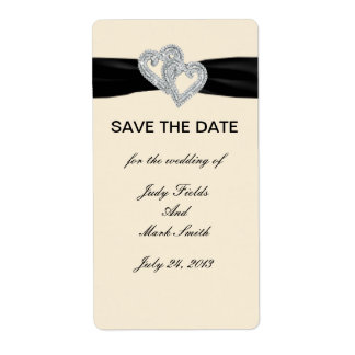 Custom Diamond Black Ribbon Save The Date Stickers Shipping Label