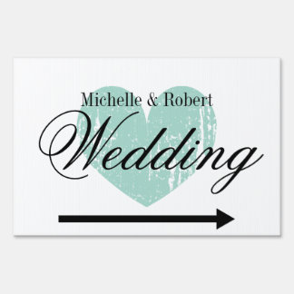 Custom directional wedding yard sign with heart