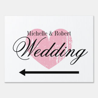 Custom directional wedding yard sign with hearts