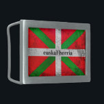 """Custom, distressed Basque Country flag, Ikurriña: Belt Buckle<br><div class=""""desc"""">Custom, distressed Basque Country flag, Ikurriña: Click the """"Customize it"""" button to add your own text and create your own special original and unique personalized gift. How about someone's name, a birthday or Christmas message, a place and date? Or, if you want, just delete the text to have the image...</div>"""