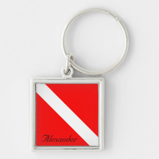 Custom Diver Down SCUBA Flag Red and White Silver-Colored Square Keychain