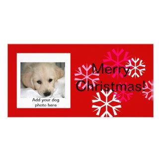 Custom Dog Christmas Photo Cards Pink Red
