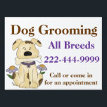 "Custom Dog Groomer Yard Sign<br><div class=""desc"">Offering dog grooming services at home or at your animal business? Advertise with this eye catching yard sign, with graphics of a cute mixed breed dog holding a bone. Bold brown and purple text is ready to personalize for your pet business. Design and text are the same on both side...</div>"