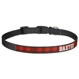 Custom Dog Name Red Buffalo Plaid Lumberjack Pet Collar