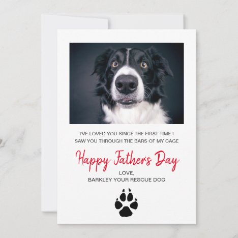 Custom Dog Photo Father's Day Card From Rescue Dog
