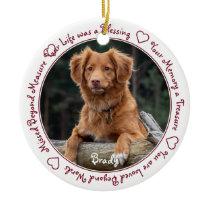 Custom Dog Photo Red Pet Memorial Ceramic Ornament