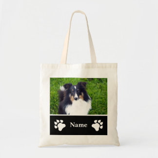 Custom Dog Photo Template With Name And Paws Tote Bag