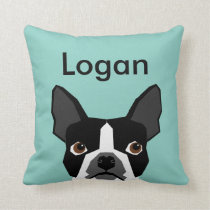 Custom Dog Pillow Boston Terrier Customizable Pet