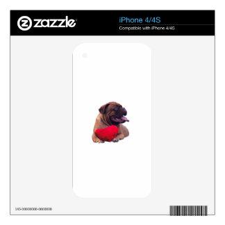 Custom Dogue de Bordeaux Red Heart iPhone 4 Decal