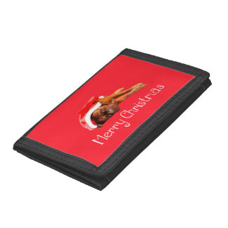 Custom Dogue De Bordeaux Santa Hat Merry Christmas Tri-fold Wallets