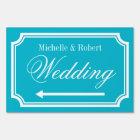 Custom double sided directional wedding yard sign